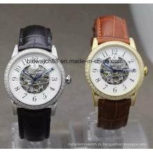 Relógio de pulso de esqueleto mecânico dos homens com caixa de aço inoxidável