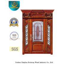 European Style Security Door with Caving and Glass and Iron (B-9010)
