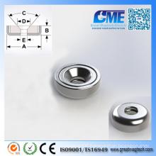 N40m D9.525X3.175mm Strong Neodymium Pot Permanent Magnet