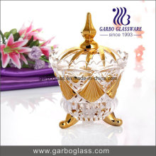 Gold Plated Glass Sugar Pot with Lid