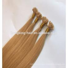 Qingdao Remy Hair Extension Single dibujado pelo de punta plana extensión High Quaility peluca