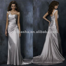 One-shoulder criss-cross ruched bodice satin A-line wedding dress/evening gown