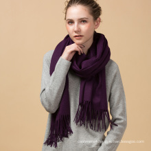 Hot sell promotional warm winter new arrival violet color style cashmere scarf