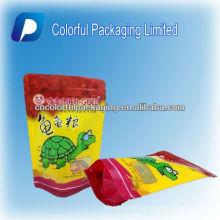 Colorful animal Feed ziplock se levanta bolsas de envasado de alimentos bolsas de envasado / tortuga