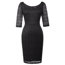 Kate Kasin Women 3/4 Sleeve Crew Neck Hips-Wrapped Black Lace Bodycon Pencil Dress KK000506-1