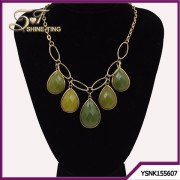 imitation green gemstone jewelry modern water-drop necklace