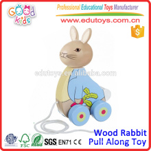 Neuer Entwurfs-hölzernes Kaninchen ziehen zusammen Spielzeug-beste verkaufenspielwaren für Kinder an
