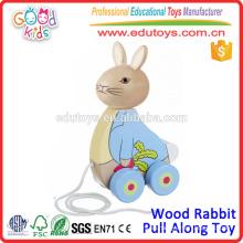 El nuevo conejo de madera del diseño tira a lo largo los juguetes superventas del juguete para los niños