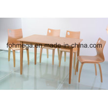 All Wood 4 Seater Dining Table Set for Restaurant (FOH-NCP17)