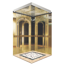 Classic Golden Mirror Etching Passenger Elevator Cabin
