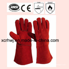 35cm Length High Quality Cow Split Leather Welding Gloves Price, Welding Safety Gloves, Long Leather Working Gloves, Lined Welding Gloves Factory