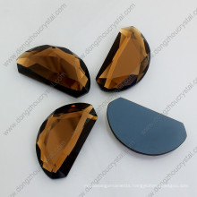 Brown Moon Shape Mirror Glass Flat Back Loose Jewelry Stones