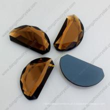 Pedras de jóias soltas de volta de vidro espelho de forma de lua marrom