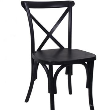 Cadeira Crossback preta para restaurante
