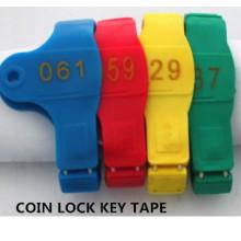 Coin Lock Key Tape, Marca Clave, Número de Mano de Baño