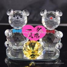 Vente chaude adorable nounours en cristal pour la décoration de mariage