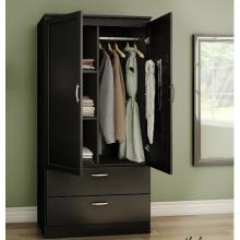 Black Wardrobe Storage Design for bedroom with drawers