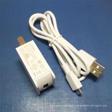 Adaptateur chargeur USB blanc 5V 1A avec câble micro USB