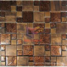 Gold Leaf Crystal Mix Cooper Mosaic Tiles (CFM868)