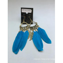 Retail Blue Feather Earrings with Metal