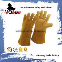 Luva de trabalho de segurança de soldagem industrial de couro de couro de vaca