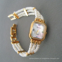 Relógio pérola genuíno, relógio pérola de água doce (WH108)