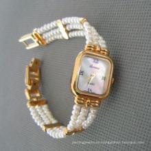 Reloj genuino de la perla, reloj de la perla de agua dulce (WH108)