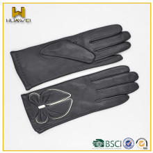 2016bow daily usage life Women goatskin leather gloves for girls Style glove