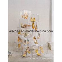 Ясная акриловая стойка дисплея / дисплея для обуви (ту-09)