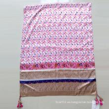 Impreso poliéster Paj emulación seda bufanda mantón