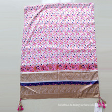 Echarpe en soie en polyester imprimé Paj écharpe