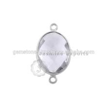 Connecteurs Gemstone Bezel, connecteurs en lunette en argent Sterling 925