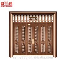 Diseño chino personalizado puerta de entrada de acero Mutileaf puerta armoniosa casa va bien de seguridad decorativos