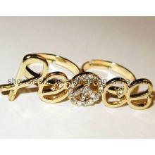 Finger-Ring / Zwei-Finger Legierung mit Kristall überzogenen Ring / Art- und Weiseschmucksachen (XRG12080)