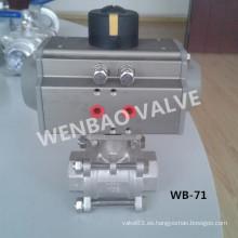 Válvula de bola neumática 1000wog del acero inoxidable 3PC