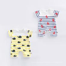 Mamelucos del bebé del algodón 100% Ropa Mono del bebé de la manga corta de la raya amarilla / azul