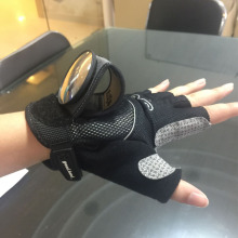 Half Finger Sports Gloves with Rearview Mirror