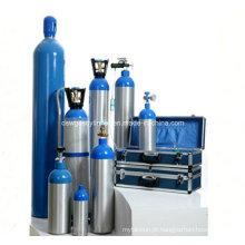 Cilindros de alumínio de 5 litros para usos médicos de oxigênio