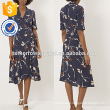 New Fashion Navy Crepe Floral Wrap Dress Manufacture Wholesale Fashion Women Apparel (TA5236D)