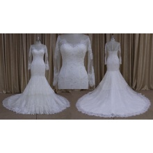 Manga longa laço frisado verão vestidos de noiva