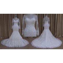 Elegante vestido de novia con cuentas de manga larga 2016