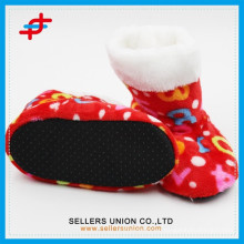 pringing soft kids indoor boots/colorful indoor boot slipper