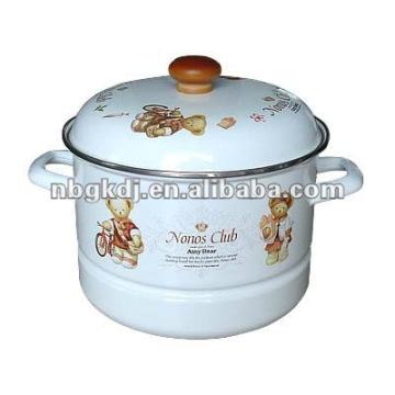 enamel cookware with glass lid and bakelite handle