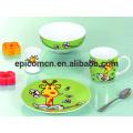 Lindo decorado de seguridad de la comida de porcelana de 3 a 5 piezas de cerámica conjunto de vajilla set de desayuno para los niños