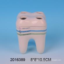 2016 Nueva llegada dientes de cerámica encantadora forma titular cepillo de dientes