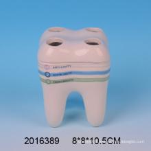 2016 New Arrival Lovely Ceramic Teeth Shape Toothbrush Holder