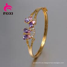 Los últimos diseños de los brazaletes de la boda de cobre amarillo con el diamante de la CZ