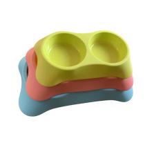 plastic trapezoidal plastic double bowl pet supplies