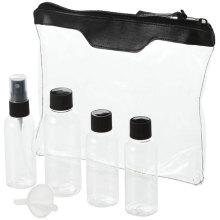 Sistema de la botella del recorrido 5PCS, pulverizador de la niebla / botella del casquillo del tornillo, mini embudo