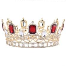 Large Red Rhinestones Bridal Tiara Queen Crown